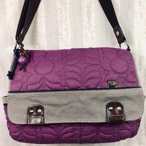 Fossil Key-Per Purple Grey Bag Tote Laptop